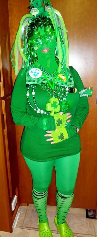 Karen Duquette's 2012 GREEN winning outfit for St. Patrick's Day