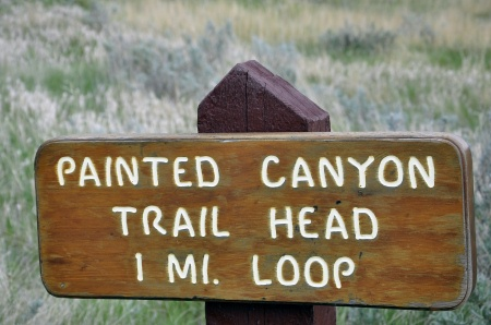 sign: Painted Canyon Trail Head hiking trail