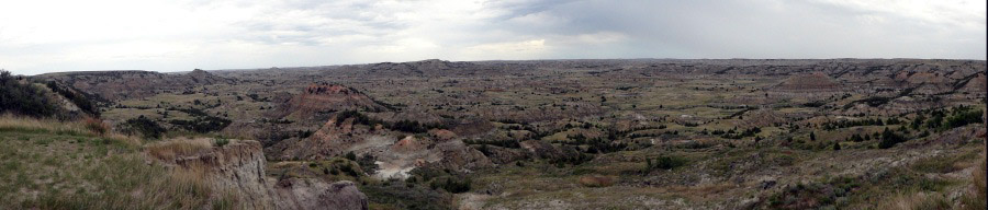 panorama of the Painted Canyon as seen from the rim by The Visitor Center