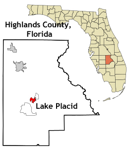 Florida map showing location of Lake Placid