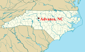 NC map showing location of Advance NC