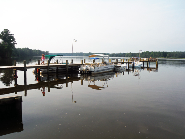 boats at the dock in the campground
