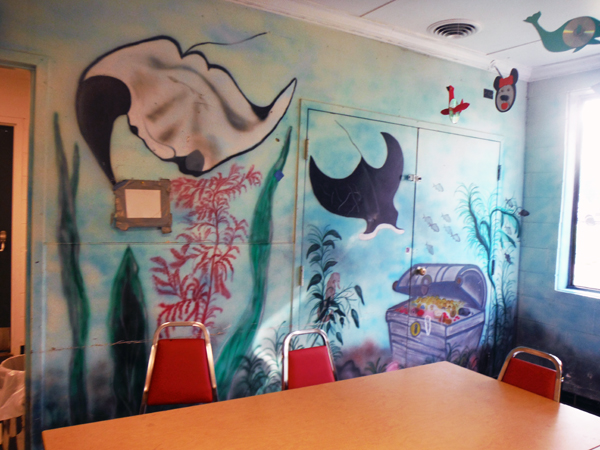 mural on the wallof the rec room
