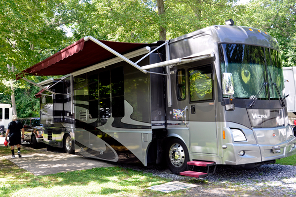 The RV of the two RV Gypsies in their new yard