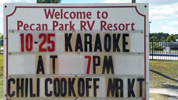 welcome to Peacan Park RV Resort & Chili Cook-off sign