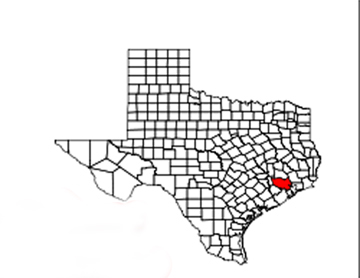 Texas map showing location of Houston