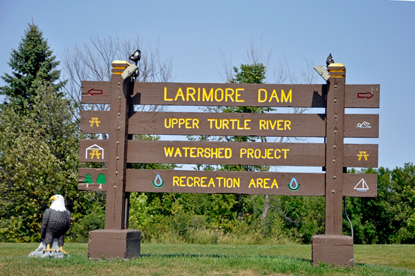 Larimore Dam sign