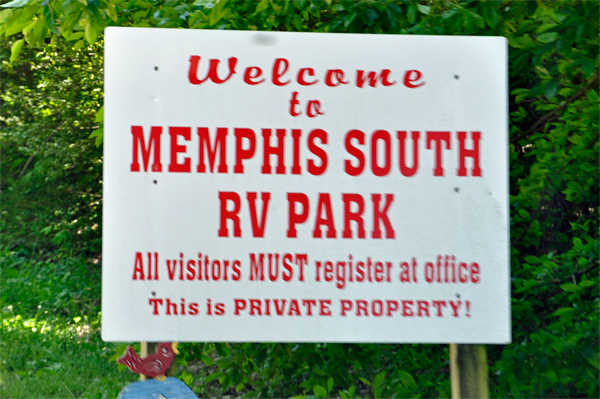 welcome to Memphis South RV Park sign