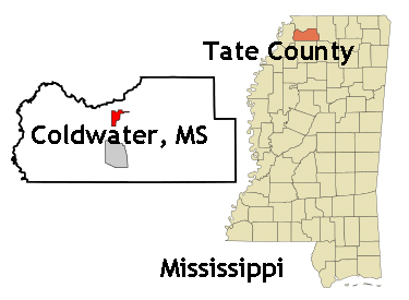 Mississippi map showing location of Coldwater