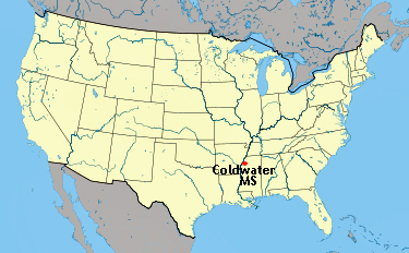 USA map showing location of Coldwater, Mississippi