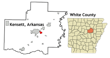 Arkansas map showing location of Kensett