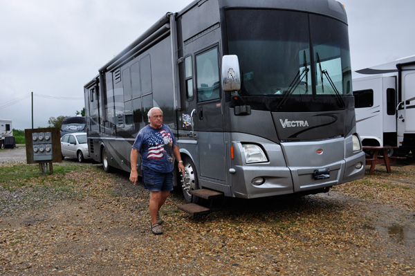 Lee Duquette and the RV ;of the two RV  Gypsies