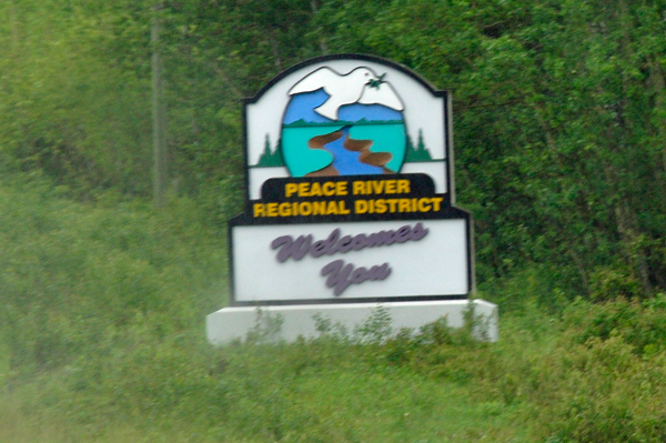Peace River Regional District Welcome sign