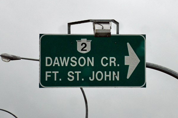 directional sign to Dawson Creek