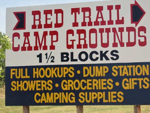Red Trails Campground sign