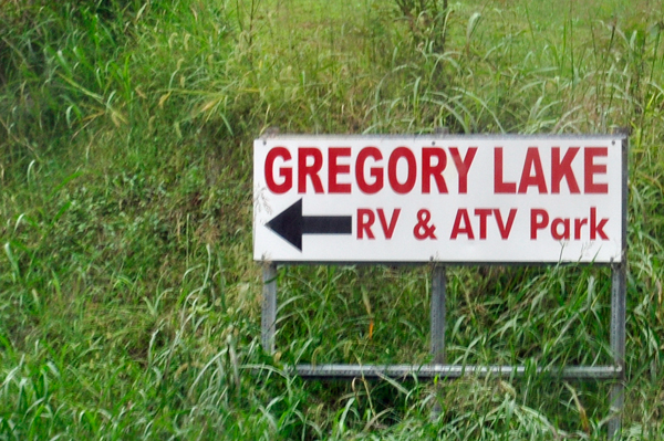 Gregroy Lake RV park sign