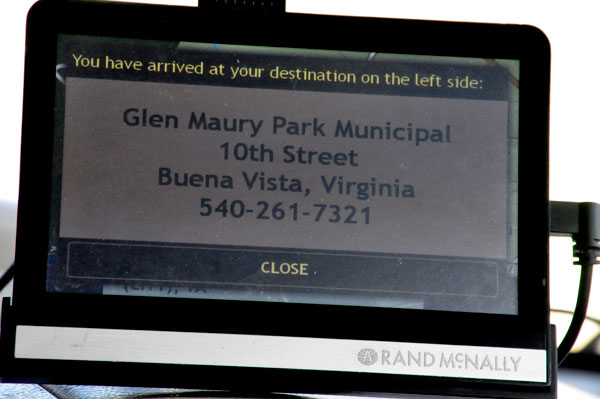 GPS arrival at Glen Maury Park