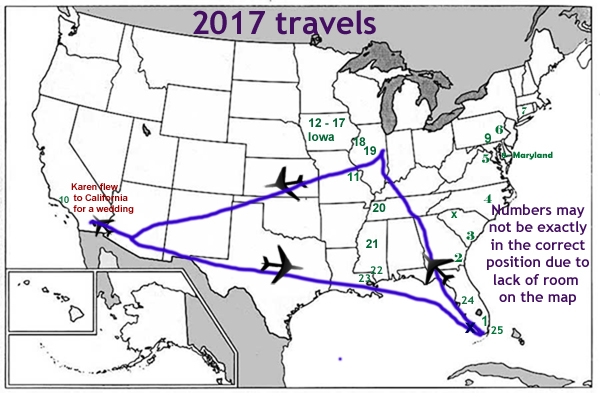 2017 travel map for the two RV Gypsies