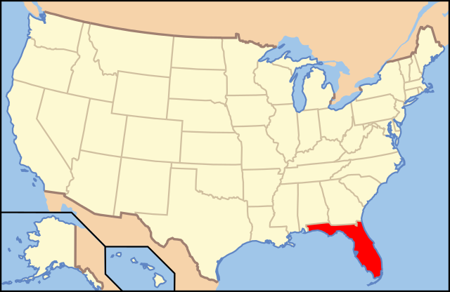 USA map showing locaion of Florida