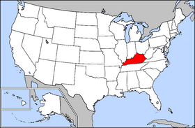 USA map showing location of Kentucky
