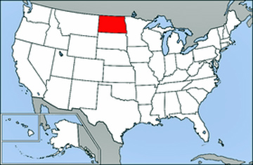 USA map showing location of North Dakota