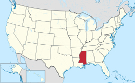 USA map showing location of Mississippi