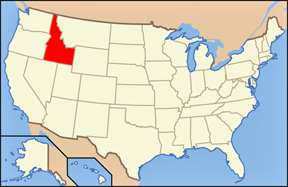 USA map showing location of Idaho