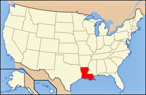 USA map showing location of Louisiana