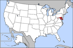 USA map showing location of Maryland
