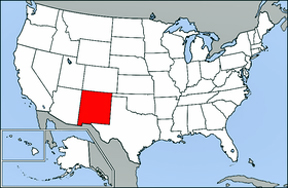 USA map showing location of New Mexico