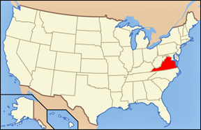USA map showing location of Virginia