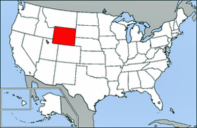 USA map showing location of Wyoming