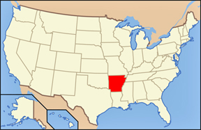 USA map showing locaion of Arkansas