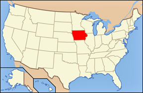 USA map showing location of Iowa