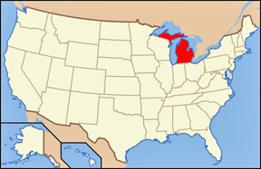 USA map showing location of Michigan
