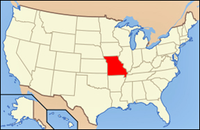 USA map showin location of Missouri
