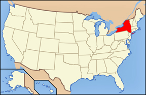 Map of the USA showing locaition of Ne York State
