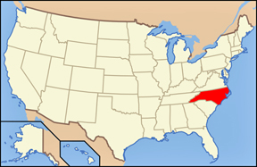 USA map showing location of North Carolina