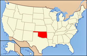 USA map showing location Oklahoma