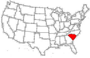 USA map showing location of South Carolina