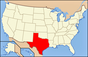 USA map showing location of Texas