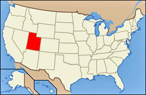 USA map showing location of Utah