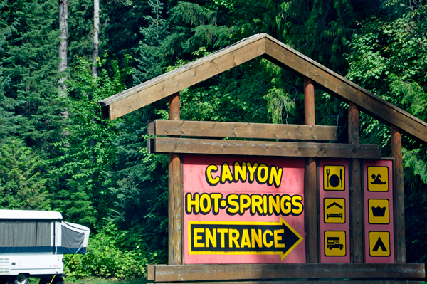 Canyon Hot Springs sign