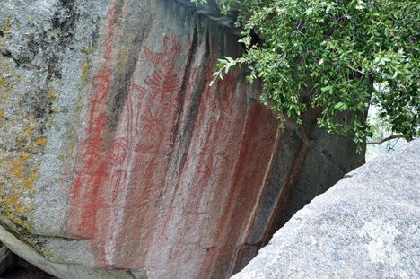 markings on Hospital Rock at Sequoia National Park