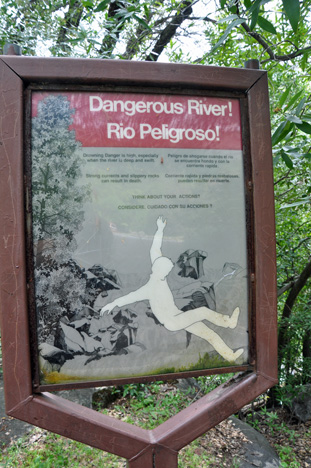 dangerous river sign at Sequoia National Park