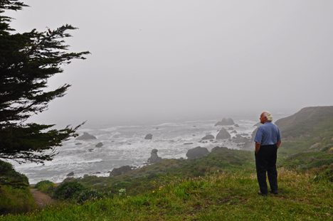 Lee gets his first view of Shell Beach from the parking area