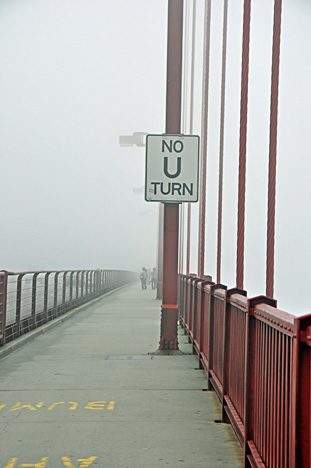No U turn sign on Lee Duquette on the Golden Gate Bridge